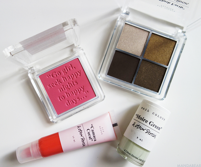& other stories nail polish, blush, eyeshadow palette, lip gloss, makeup