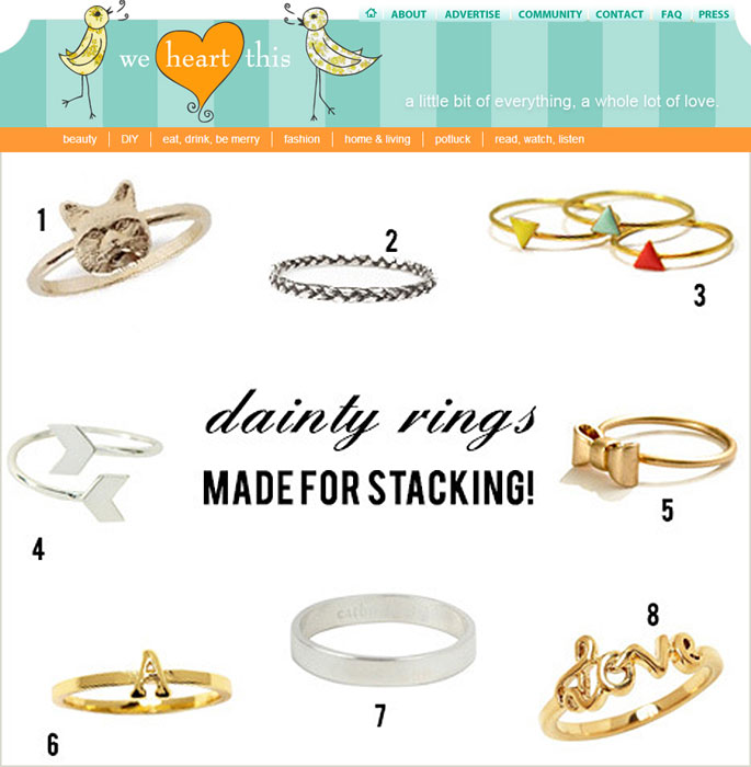 stacking rings on we heart this